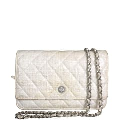 CHANEL Auth Tweed Wallet On Chain Crossbody Bag